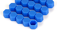 Колпачки силиконовые синие на гайки колесные, 21мм