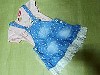 Летний костюм для девочки с джинсовым сарафаном и футболкой