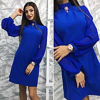 """Короткое нарядное платье """"Дарья"""" с брошкой и шифоновыми рукавами (4 цвета)"""