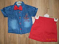 Нарядные летние  костюмчики для мальчика с джинсовой рубашкой на рост 92 см