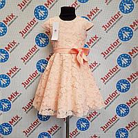 Нарядное гипюровое платье на девочку с бантом  DEVA