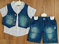 Летний джинсовый костюмчик для мальчика с жилеткой на рост 80 см и 92 см