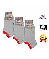 Носки женские хлопок короткие белые с яркой цветной резинкой Ж-100064