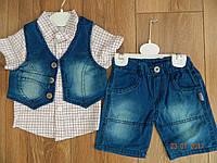 Летний джинсовый костюмчик для мальчика с жилеткой на рост 80 см и рост 92 см