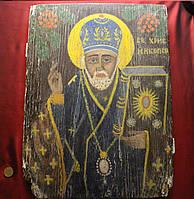 Старинная икона середина 19 века Николай Чудотворец Зимний