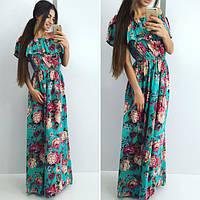 """Длинное летнее платье штапель """"Дина"""" с цветочным принтом и оголенными плечами (2 цвета)"""