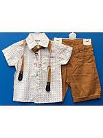 Летний костюм для мальчика с рубашкой и  шортами с подтяжками