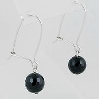 Агат черный граненый, Ø10 мм., серебро, 168СРА