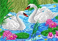 Схема для вышивки нитками Пара лебедей