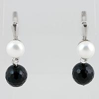 Агат черный граненый и жемчуг, серебро, 169СРА