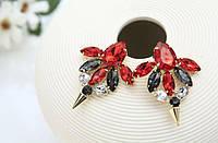 Серьги Красные цветок капельки стрела блестящие вечерние кристаллы сережки камни