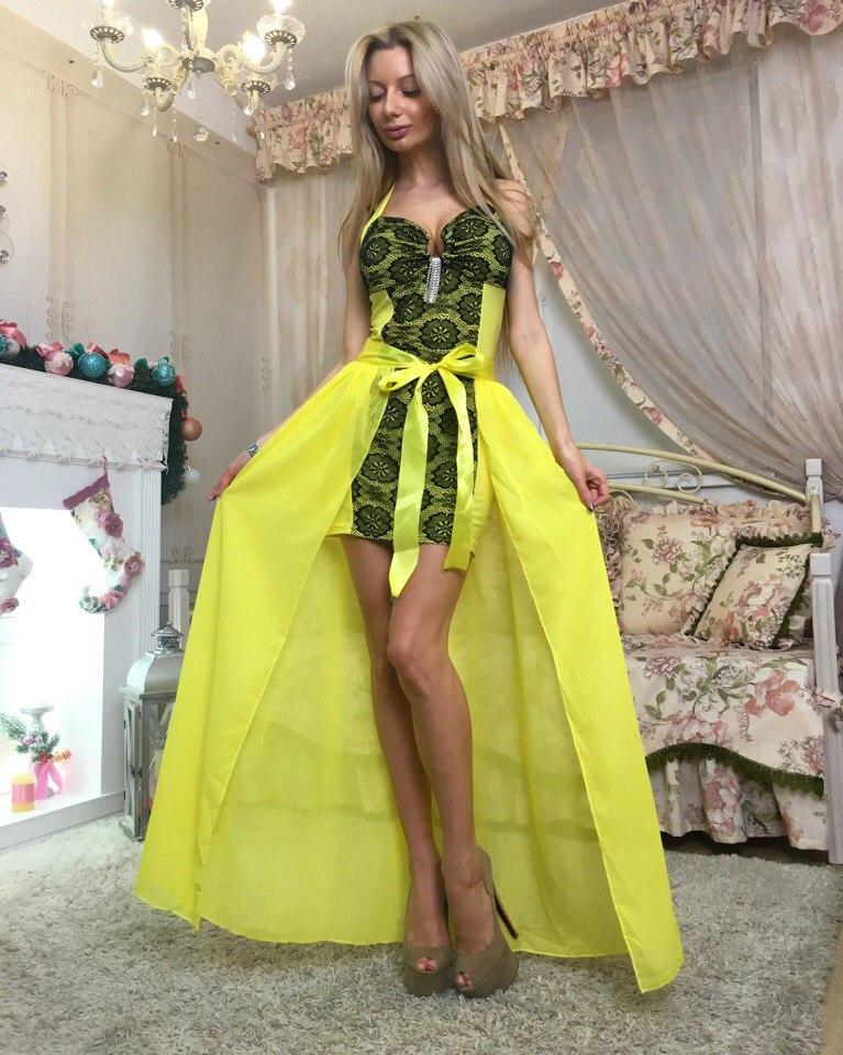 """Облегающее гипюровое мини-платье """"Liaza"""" с шифоновым шлейфом (3 цвета)"""