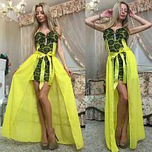 """Облегающее гипюровое мини-платье """"Liaza"""" с шифоновым шлейфом (3 цвета), фото 2"""