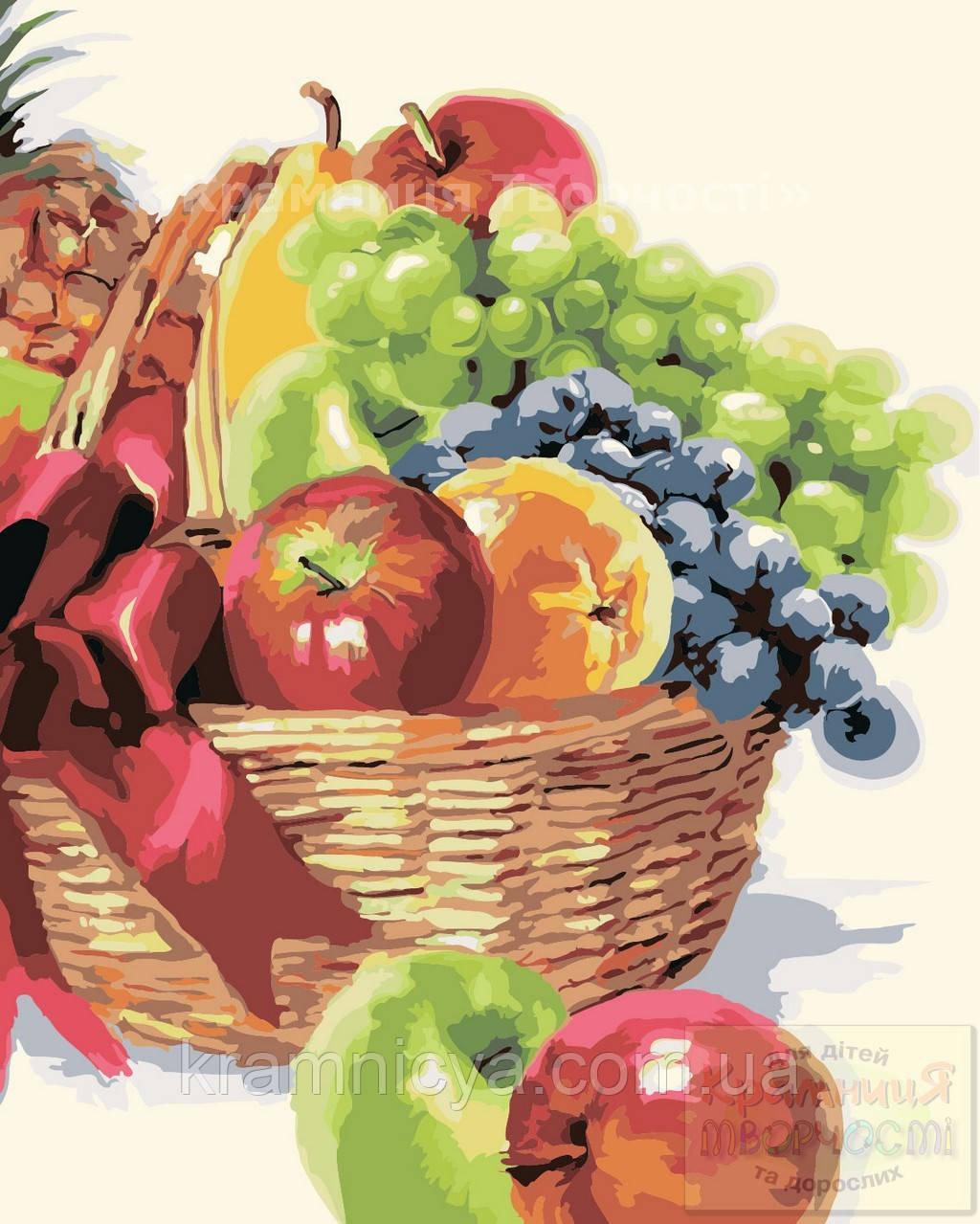 Картина по номерам: Корзинка фруктов, 40х50см. (КНО2910)