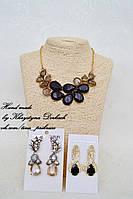 Набор Crystal черный колье и серьги кристаллы Роскошный комплект ожерелье