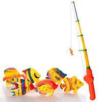 Рыбалка, удочка с магнитом 35см, рыбки 6шт, в пак. 16*22*6см (100шт)