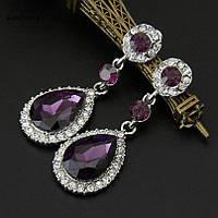 Серьги капельки фиолетовые сережки кристалл вечернее на выпускной свадебные кристаллы фіолетові