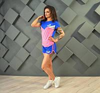 Женский летний костюм Адик синий с розовым БАТАЛ