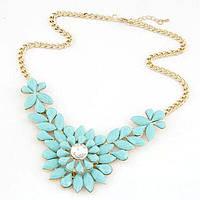 Колье Ожерелье голубое Blue Цветы цветок камни Шарм Винтаж кольэ