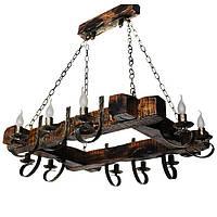 Люстра из дерева Балка - Старая - Рамка 10 ламп Старая Бронза, Дерево Состаренное темное
