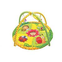 Развивающий коврик для малышей 898-302B. круглый,дуги, погремушки