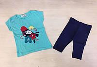 Костюм для девочки с апликацией Птица на ветви - бирюзовая футболка и синие бриджи
