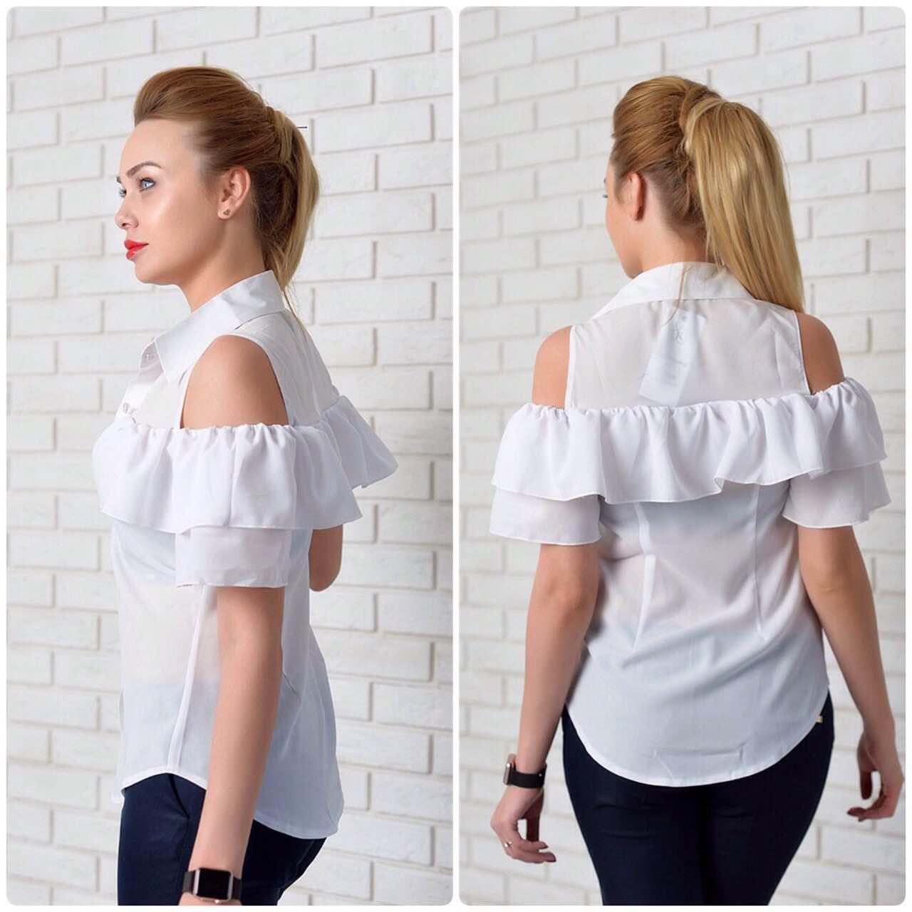 Рубашка (904) двойной рюш, белый