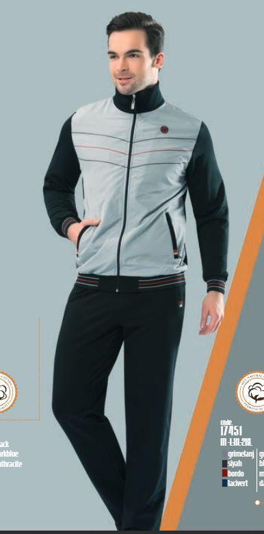 Трикотажный мужской серый спортивный костюм пр-во Турция FM17406