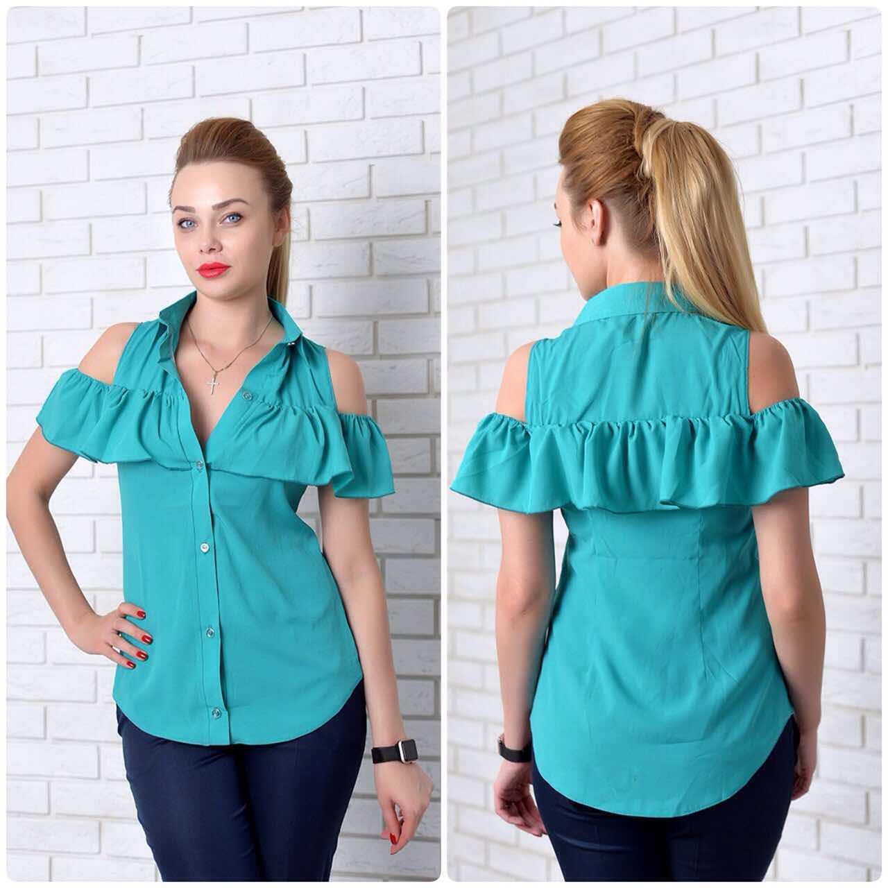 Рубашка (905) рюш, бирюза