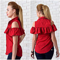 Рубашка (905) рюш, вишня, фото 1