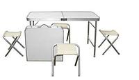 Набор стол и 4 стула для пикника светлый