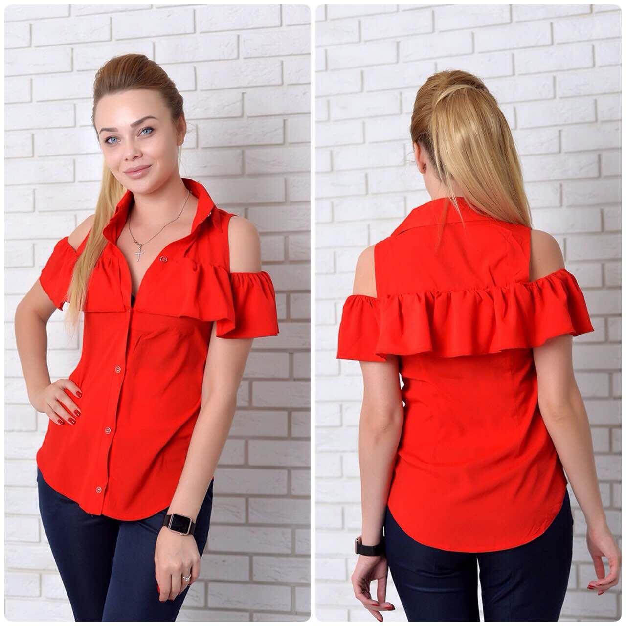 Рубашка (905) рюш, красный