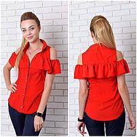Блузка (905) рюш, красный