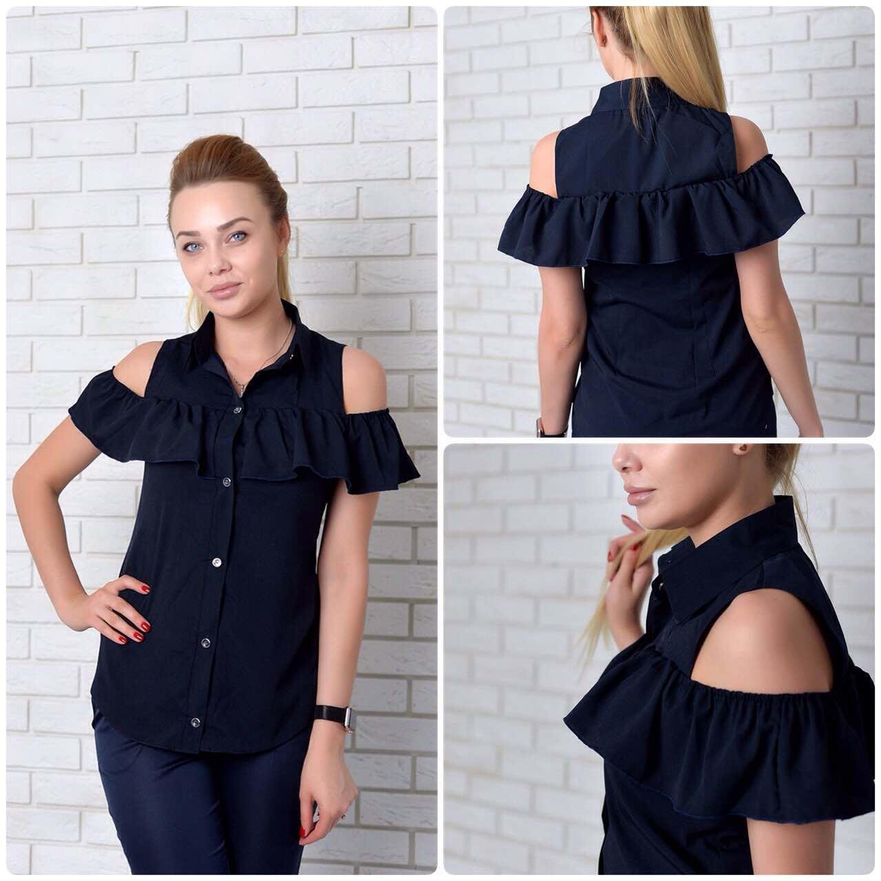 Рубашка (905) рюш, темно-синий