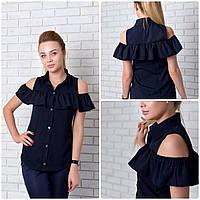 Рубашка (905) рюш, темно-синий, фото 1