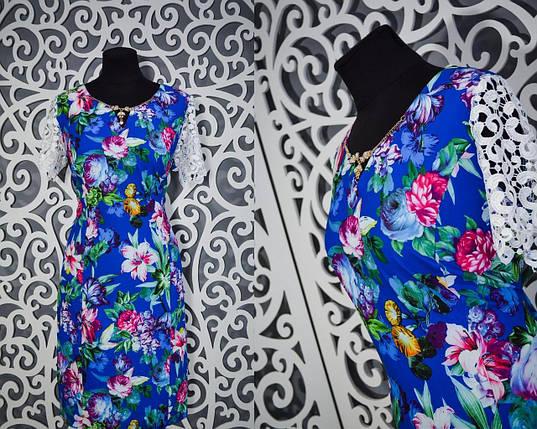 Красивое женское платье с фурнитурой и рукавами из кружева 54 размер батал, фото 2
