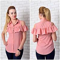 Рубашка (905) рюш, розовая пудра, фото 1