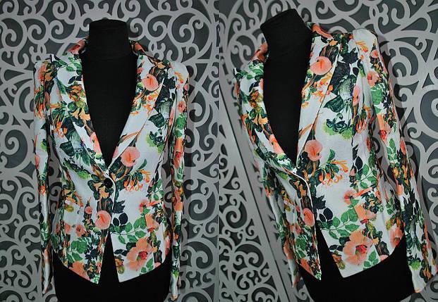 """Яркий женский пиджак """"Стрейч-коттон"""" 42 размер, фото 2"""