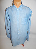 Мужская рубашка с длинным рукавом Jan Paulsen  оригинал лён 010ДР р.50