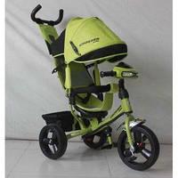 Детский трехколесный велосипед Азимут Crosser T1 фара, EVA, Салатовый