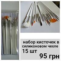 Кисти для дизайна ногтей 15 шт