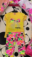 Костюм для девочки - желтая футболка с бантиком и яркие лосины
