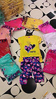 Костюм для девочки сердечки - желтая футболка и цветные лосины