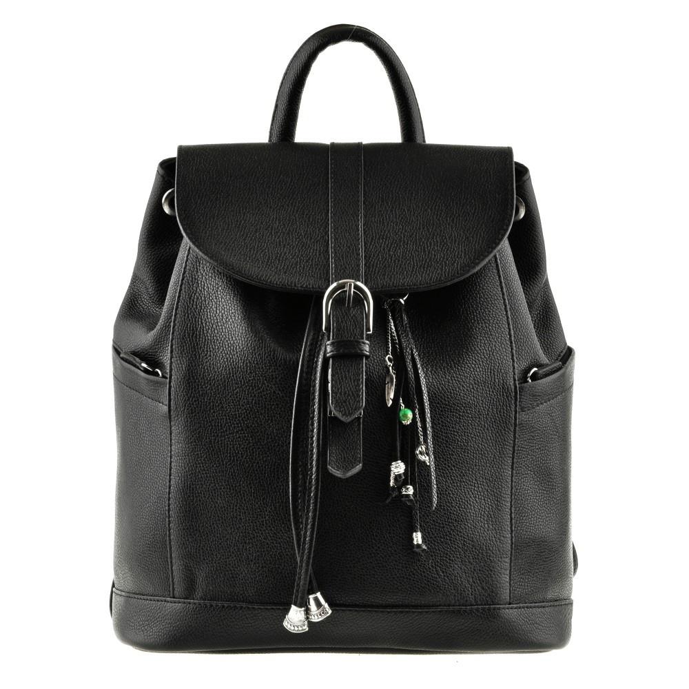 Рюкзак-сумка кожаный женский черный (ручная работа)