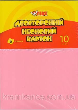 Картон цветной А4 TIKI-50914 двусторонний Неон, фото 2