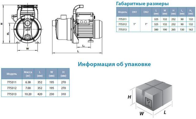 Центробежный самовсасывающий бытовой насос Aquatica 775312 размеры