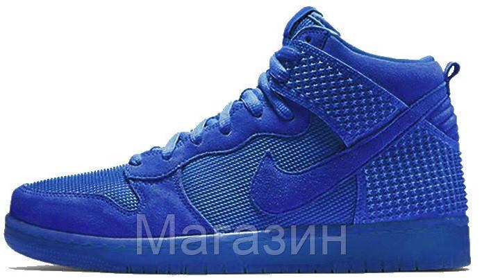 5f3151ee Мужские высокие кроссовки Nike Dunk Premium (в стиле Найк Данк) синие - Магазин  обуви