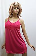 Ночная рубашка женская на тонкой бретельке с гипюром 136