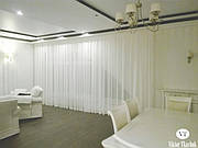 Оформление гостиной и столовой зоны. Легкая и воздушная тюль