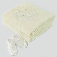 Детский плед для новорожденных  95x85см. бежевый. 3112мрж. Махра, с вышивкой